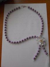 collana di perle con fiore swarovski