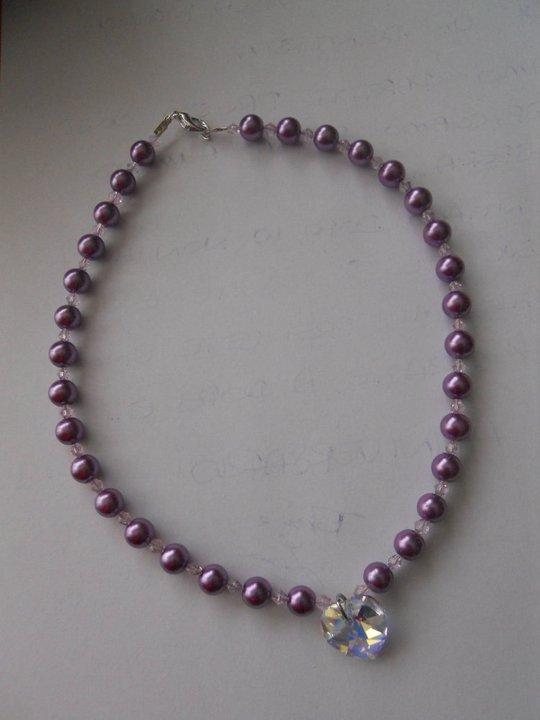 collana di perle con ciondolo cuore swarovski