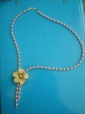 collana di perle e swarovski con ciondolo fiore