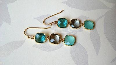 orecchini lunghi- verde acqua, menta, fumè- gioielli fatti a mano