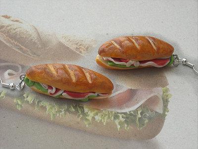 Orecchini baguette panino con prosciutto