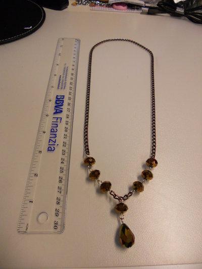 Collana catena marrone con pietre