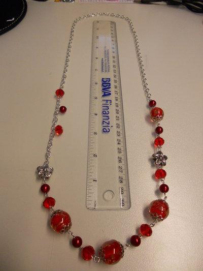 Collana catena con perle e pietre Rosse