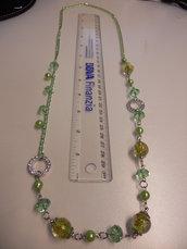 Collana catena con perle e pietre Verdi