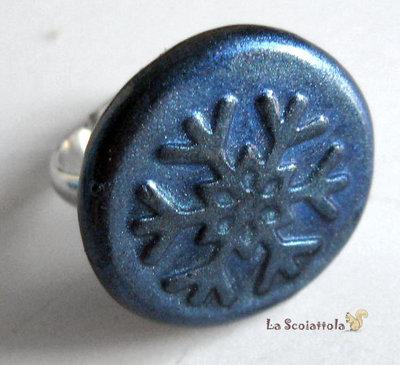 Anello blu con fiocco di neve #15
