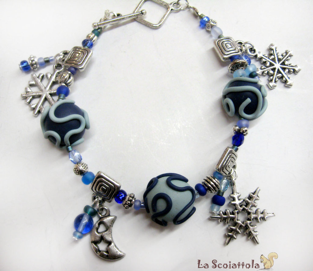 Bracciale blu con fiocchi di neve #65