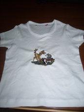"maglietta bimba ricamata artigianalmente ""bambi"""""