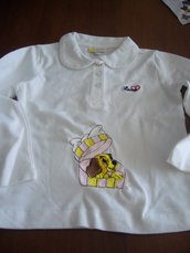 maglietta maniche lunghe bimba 18 mesi ricamata  artigianalmente