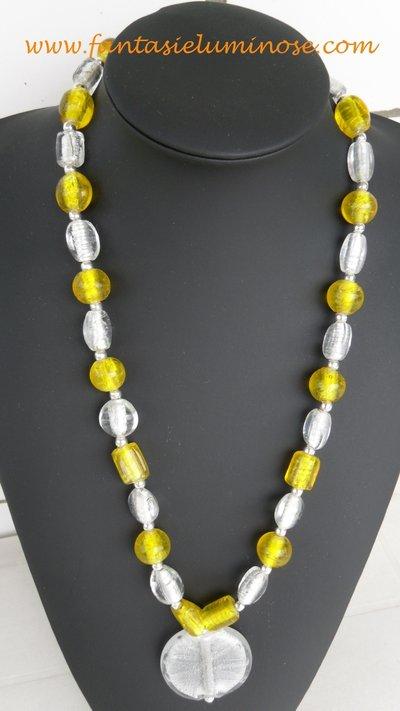 collana perle di vetro bianche e gialle