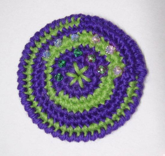 Spilla Violet, Acid Green and Swarovski