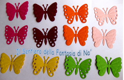 12 Farfalle carta fustellate embossate per scrap