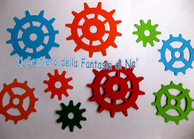 9 Ingranaggi carta fustellati per scrap