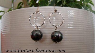 orecchini perla nera