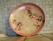 piatto con fiori tecnica decoupage