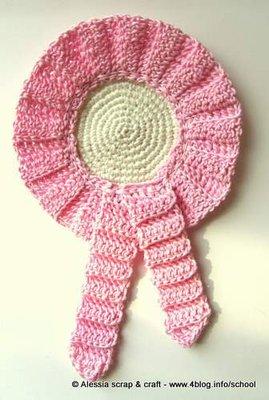 Coccarda Fiocco Nascita Rosa A Crochet Uncinetto Idea Regalo