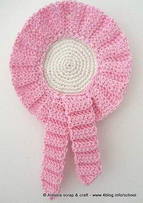 Coccarda fiocco nascita rosa a crochet uncinetto idea for Oggetti in regalo gratis