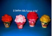 Vasetti terracotta con fiori pannolenci
