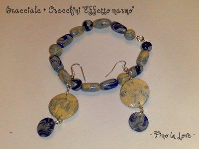 Parure Orecchini-braccialetto marmorizzato