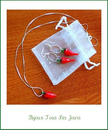 'O cuorn - parure portafortuna ( collana + orecchini cerchi )