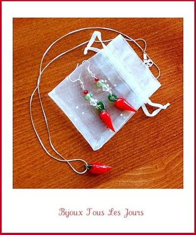 'O cuorn - parure portafortuna ( collana + orecchini perline )