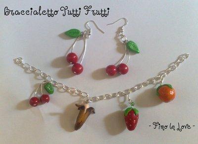 Braccialetto + orecchini frutta