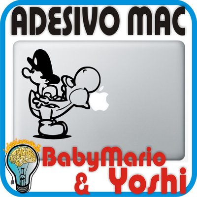 ADESIVO BABY MARIO & YOSHI - PER APPLE MAC MACBOOK PRO - SKIN