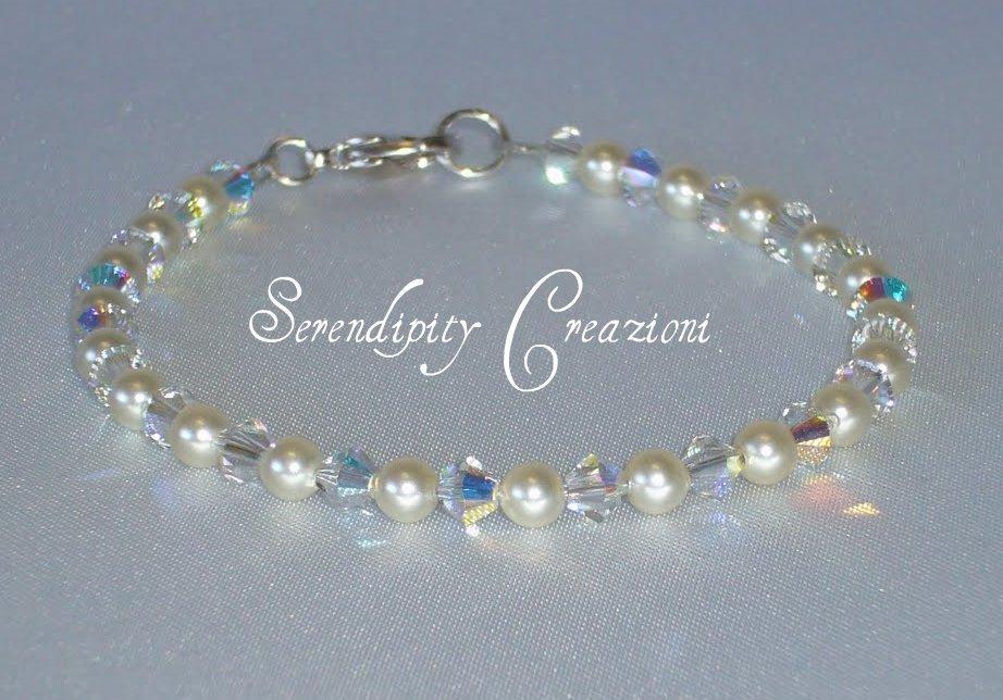 Bracciale Perle e Cristalli Swarovski Elements, Braccialetto