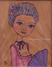 Marie Antoinette-Original Fine Art colored pencil illustration-sul legno