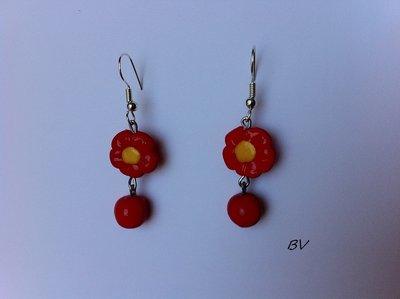 Orecchini fiori rossi