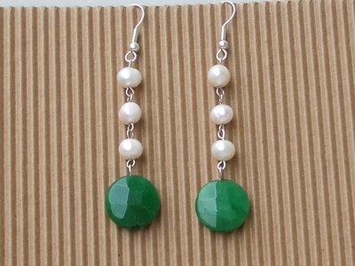 orecchini giada e perle