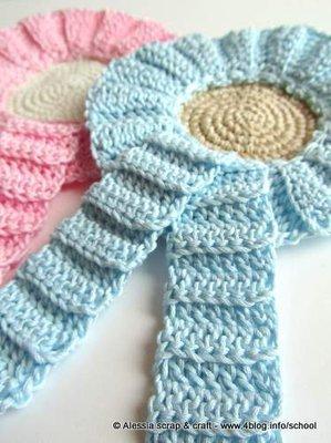 Coccarda - fiocco nascita AZZURRO a crochet uncinetto - idea regalo - SPESE SPEDIZIONE GRATIS