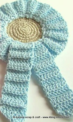 Coccarda Fiocco Nascita Azzurro A Crochet Uncinetto Idea Regalo
