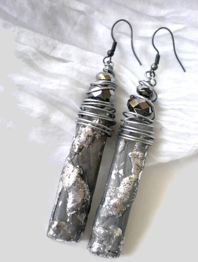 Etnic silver long earrings