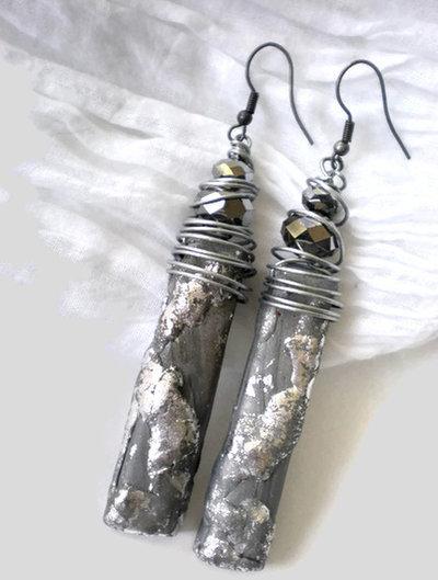 Etnic silver long earrings