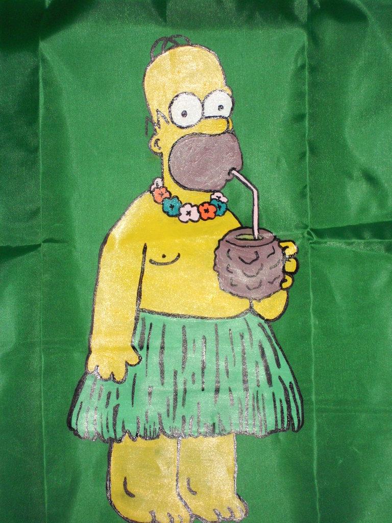 Sacca verde con Homer Simpson dipinto a mano
