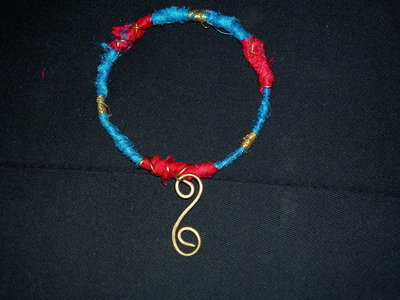 Spiral Bracelet Bangle with silk