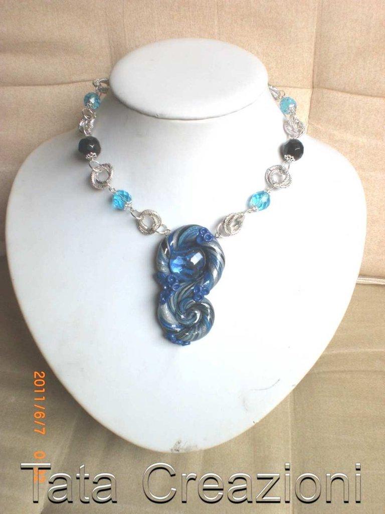 Collana blu/argento