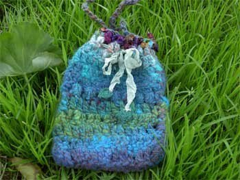 handknit rustic pouch/treasure bag - woodland tree fairy