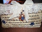 Borsa in paglia con decorazioni in Fimo