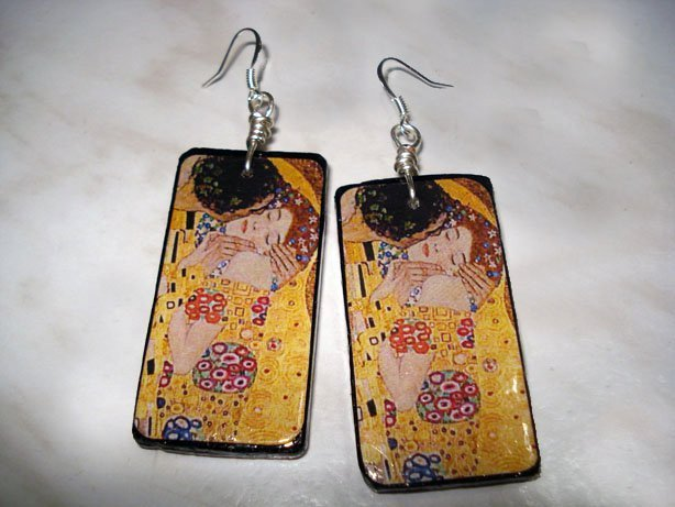 Orecchini in legno Klimt