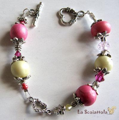 Bracciale rosa e giallo con cuori #08