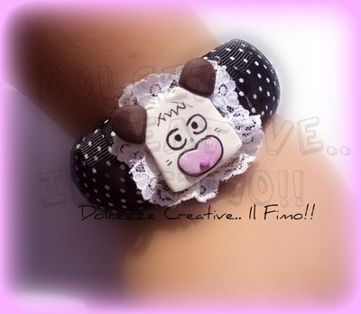 ★★SALDI Bangle Hello Spank a pois :) in fimo e cernit