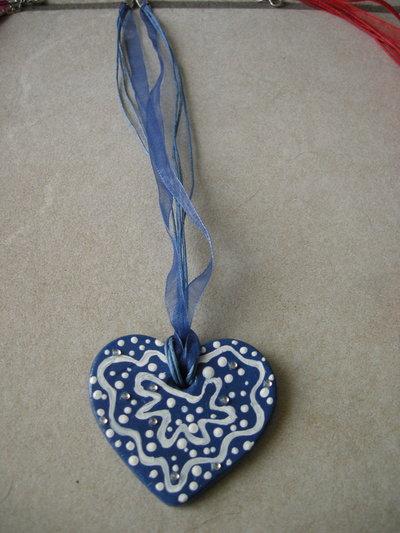 Collana cuore blu