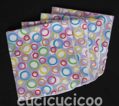 4 fazzoletti lavabili (cerchi lilla) / set of 4 cloth handkerchiefs – hankies (lavender circles)