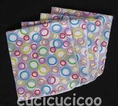 4 fazzoletti lavabili (cerchi lilla) / set of 4 cloth handkerchiefs – hankies (lavender circles)