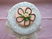 portabiscotti torta rosa al cioccolato