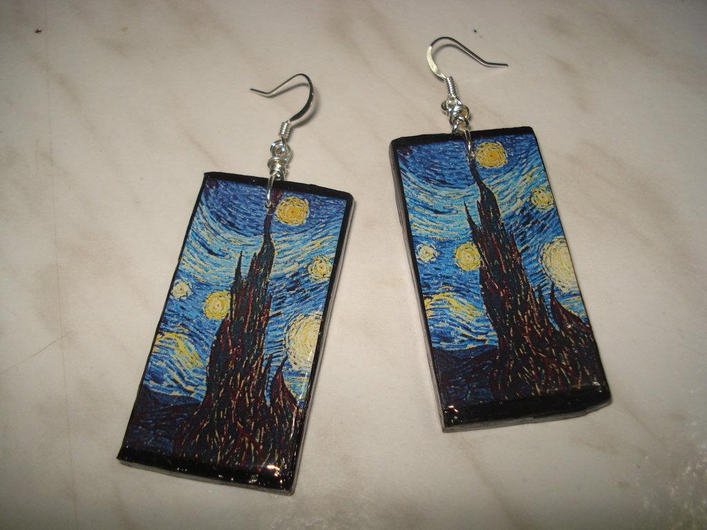 Orecchini in legno Notte stellata