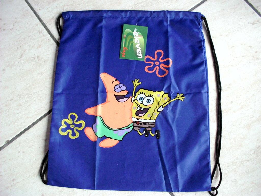 sacca blu con spongebob e patrick dipinti a mano!