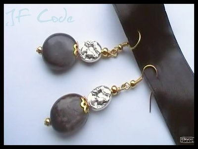 Orecchini pendenti nero/argento/oro