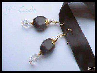Orecchini pendenti nero/oro/vetro